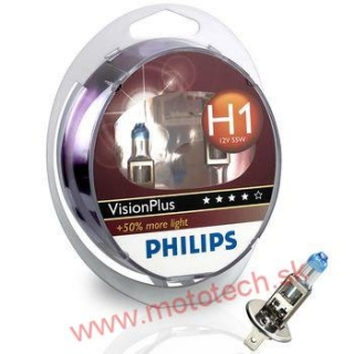 PHILIPS VISION PLUS +50% H1 12V / 55W, P14,5s - 2  KS