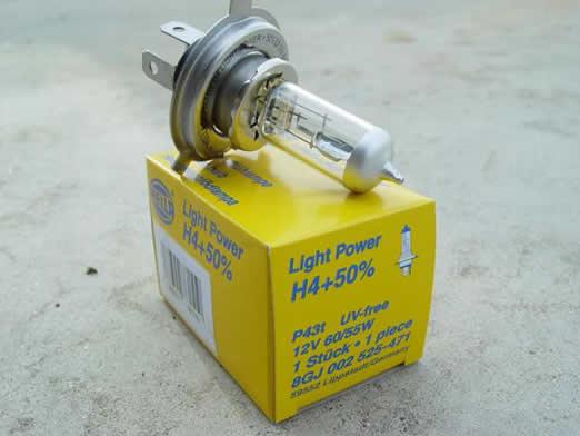 Auto žiarovka H4 +50% - 12V, 60W/55W, P43t - Hella